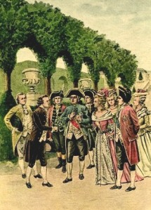 Parmentier offers a bunch of potato flowers to King Louis XVI and Marie Antoinette. Louis XVI put the flowers in his buttonhole and the whole Court followed his example.
