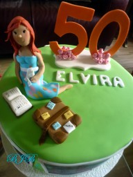 50th birthday. Carrot cake with white chocolate