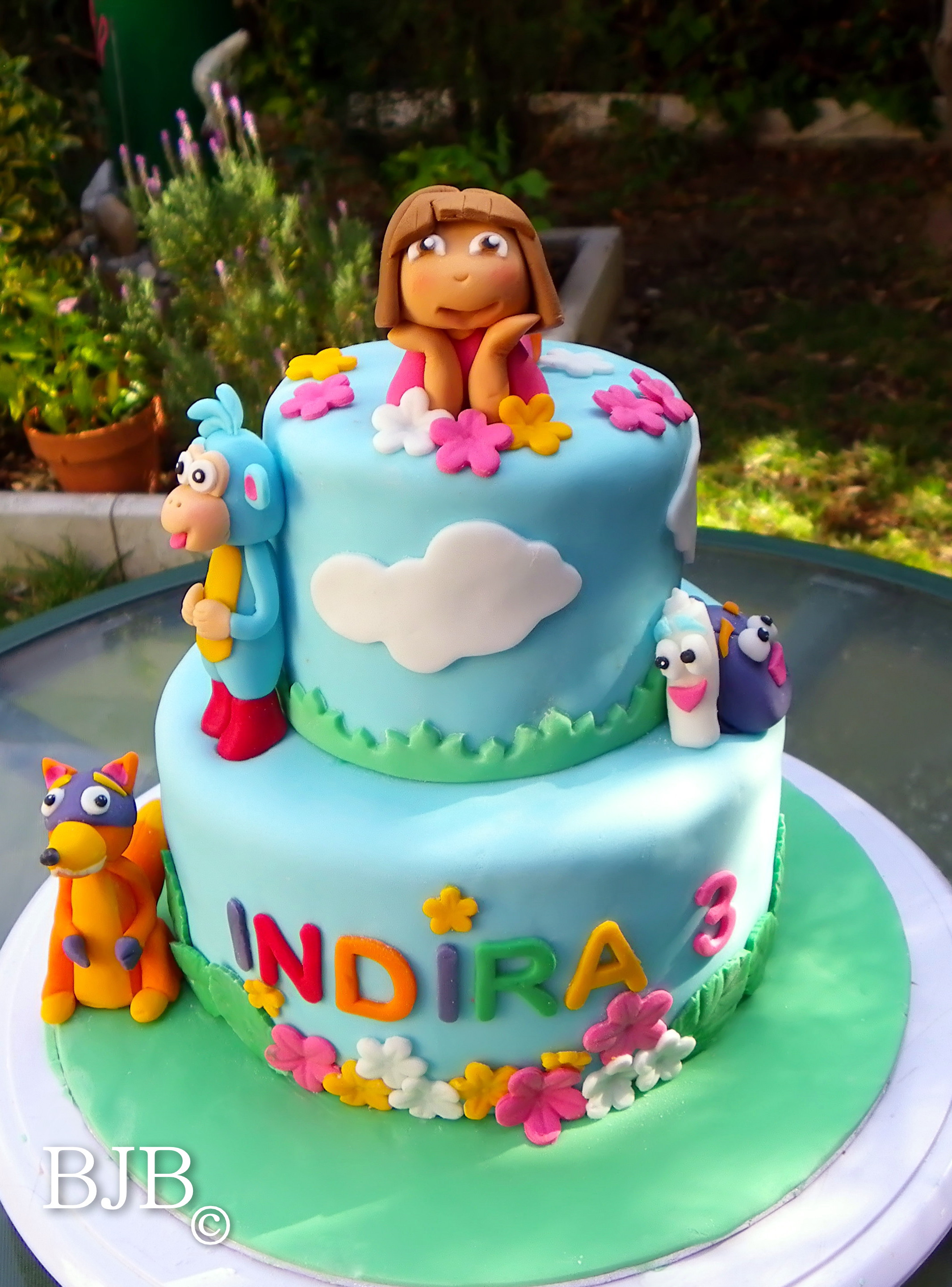 A Dora the Explorer Cake Blue jellybeans